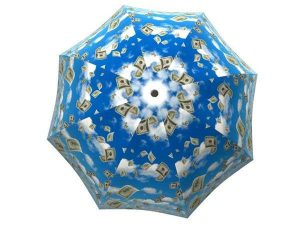 Designer Rain Umbrella with gift box Raining Money