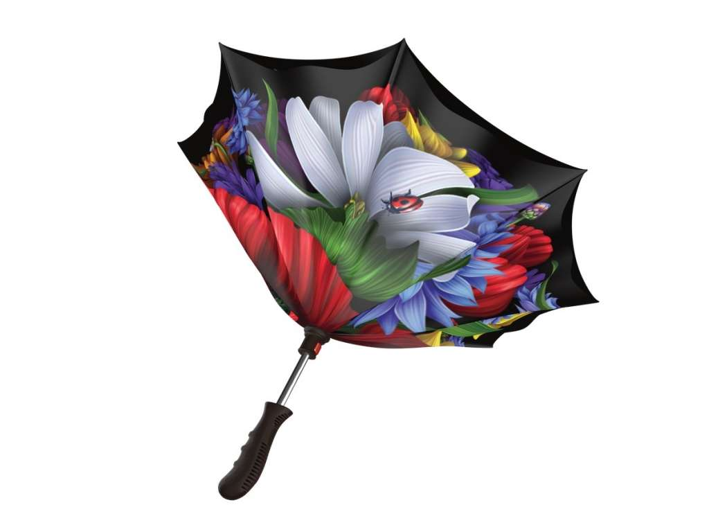 Inverted rain umbrella - Wild Poppies
