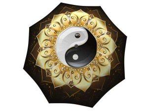Designer Rain Umbrella with gift box Yin Yang